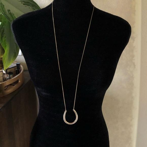 JS Collections Jewelry - JS gold u shaped horseshoe pendant necklace